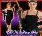 FANCY DRESS COSTUME ROARING 20S BLACK FLAPPER LG 16-18